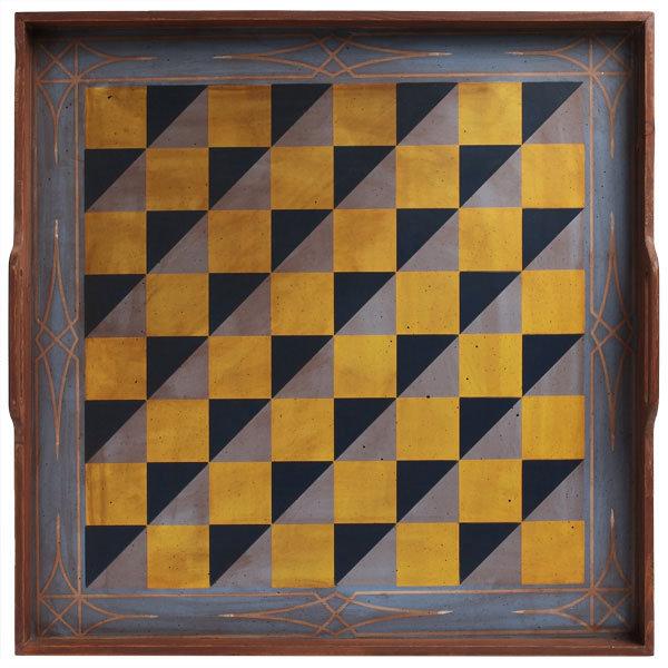Folk Art Game Board - Blue Checker