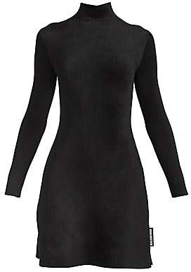 Balenciaga Women's A-Line Velvet Turtleneck Dress
