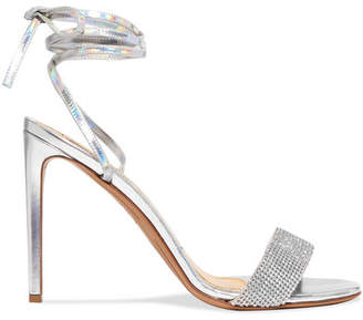 Alexandre Vauthier Kim Swarovski Crystal-embellished Iridescent Leather Sandals - Silver