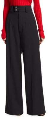 Wide-Leg Stretch Wool Pants