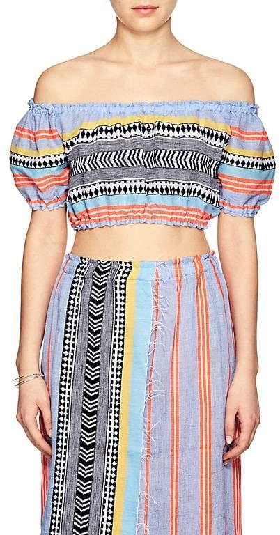 Women's Sophia Folkloric & Striped Cotton-Blend Crop Top