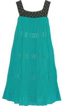 M Missoni Jacquard-Paneled Crochet-Knit Cotton-Blend Mini Dress