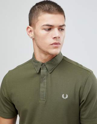 Fred Perry Oxford Collar Pique Polo In Khaki