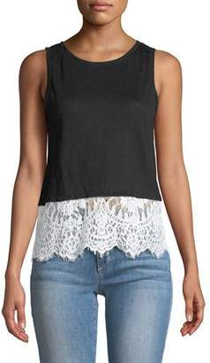 Generation Love Mila Linen Tank with Lace Hem
