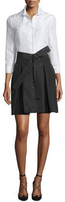 Carolina Herrera 3/4-Sleeve Colorblock Trench Dress, White/Black