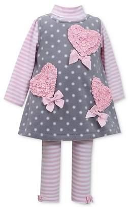 Bonnie Jean Girls 3-piece Ruched Heart Pink Jumper Set 2t-x