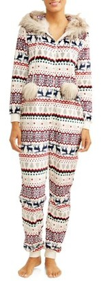 Secret Treasures Jammers Women's and Women's Plus Winter Fairisle Fur Trimmed Union Suit