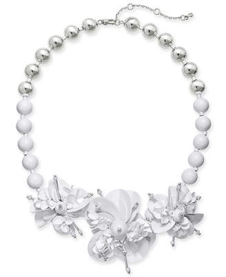 """Kate Spade Sequin & Bead Leather Flower Statement Necklace, 17"""" + 1"""" extender"""