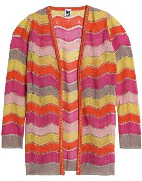 M Missoni Pointelle-Trimmed Striped Open-Knit Cardigan
