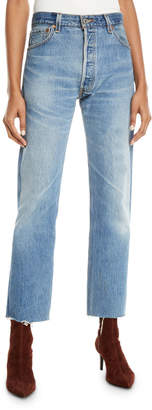 RE/DONE High-Rise Whiskered Stovepipe Jeans with Raw-Edge Hem