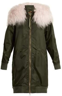 Mr & Mrs Italy - Shearling Trimmed Long Line Bomber Jacket - Womens - Dark Green Multi