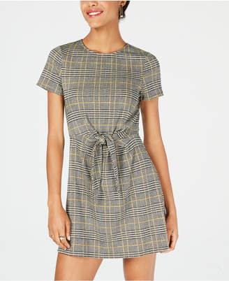 Speechless Juniors' Plaid Tie-Front Dress