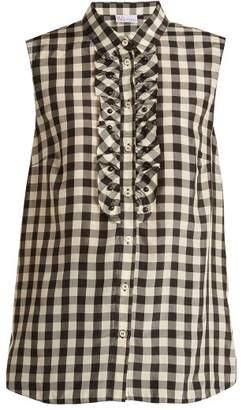 RED Valentino Gingham Print Sleeveless Shirt - Womens - Black White