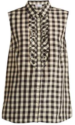 Redvalentino - Gingham Print Sleeveless Shirt - Womens - Black White