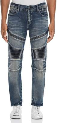 True Religion Rocco Slim Fit Moto Jeans in Combat Blue