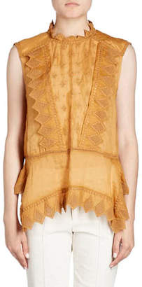 Isabel Marant Nust High-Neck Sleeveless Embroidered Blouse