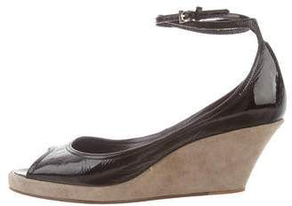 Sigerson Morrison Patent Leather & Suede Wedge Sandals