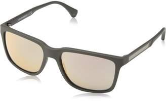 Emporio Armani Men's Mirrored EA4047-53054Z-56 Square Sunglasses
