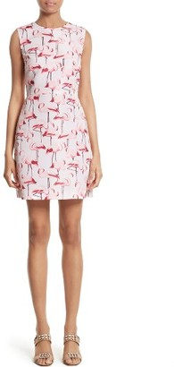 Women's Red Valentino Flamingo Print Faille Fit & Flare Dress $695 thestylecure.com