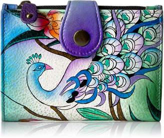 Anuschka Anna By Anna by Hand Painted Leather Ladies Wallet | Midnight Peacock