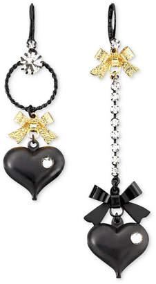 Betsey Johnson Asymmetrical Black Heart Drop Earrings