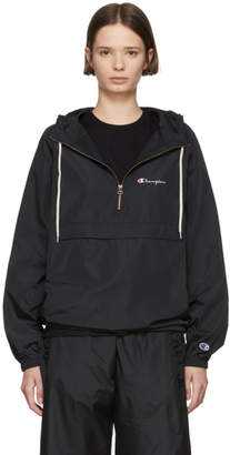 Champion Reverse Weave Black Half Zip Hooded Jacket