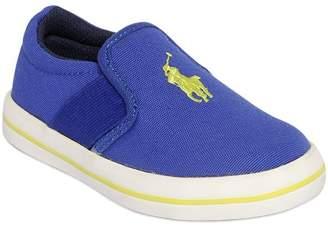 Ralph Lauren Logo Cotton Canvas Slip-On Sneakers