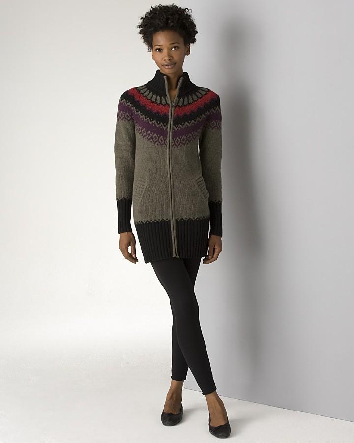 Aqua Women's Zip Fair Isle Cashmere Sweater