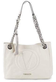 Mario Valentino Logo Embroidered Leather Tote