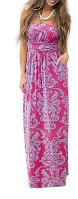 Liebeye Women Wrap Chest Casual Floral Dress Empire Waist Strapless Sleeveless Maxi Dress Long Skirt for Party Summer Beach S