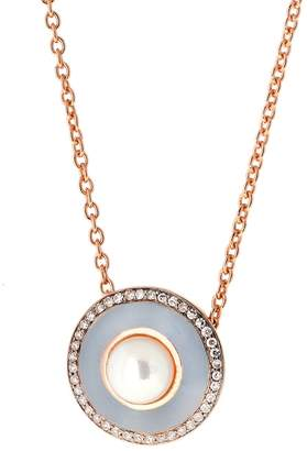 Selim Mouzannar Grey Enamel Diamond and Pearl Necklace - Rose Gold