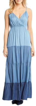 Karen Kane Tiered Ombré Chambray Maxi Dress