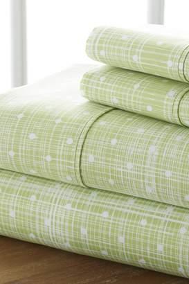 IENJOY HOME The Home Spun Premium Ultra Soft Polka Dot Pattern 4-Piece Queen Bed Sheet Set - Moss