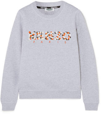 Kenzo Embroidered Cotton-jersey Sweatshirt - Light gray