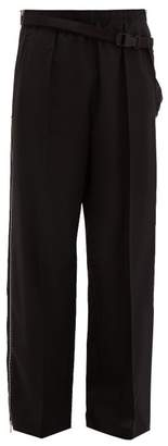 Maison Margiela Side Bag Zipped Wool Trousers - Mens - Black