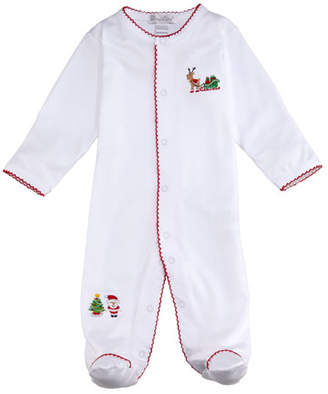 Kissy Kissy Tis The Season Embroidered Pima Footie Playsuit, Size 0-9 Months