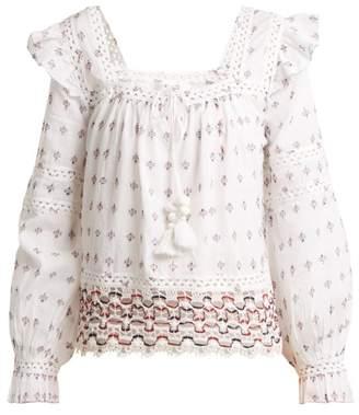 Sea Colette Lace Trimmed Embroidered Cotton Top - Womens - White Multi