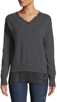 Neiman Marcus Lace-Trim Cashmere V-Neck Pullover Sweater