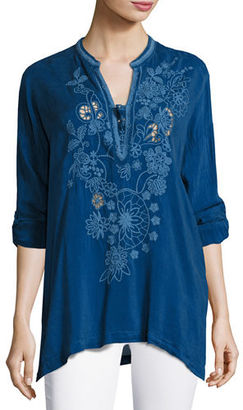 Johnny Was Lusana Georgette Embroidered Blouse, Plus Size $255 thestylecure.com