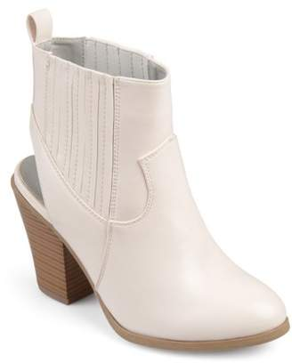 Co Brinley Women's Faux Leather Stacked Wood Heel Slingback Western Almond Toe Booties