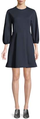 Tibi Bond Stretch Sculpted Button-Back Mini Dress