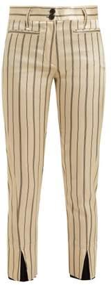 Ann Demeulemeester Levon Pinstriped Satin Trousers - Womens - Cream Multi