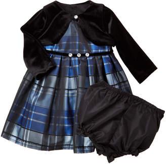 Pippa & Julie Infant Girls) 3-Piece Velvet Shrug & Plaid Dress Set