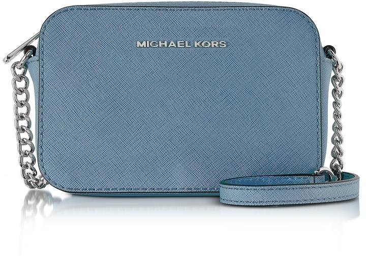 MICHAEL Michael KorsMichael Kors Jet Set Large EW Denim Saffiano Leather Crossbody Bag