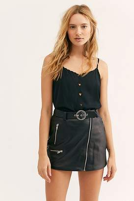 Understated Leather Moto Leather Mini Skirt