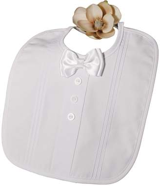 Little Things Mean a Lot Polycotton Christening Bib with Satin Bow Tie