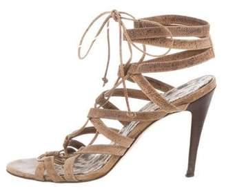 Manolo Blahnik Lace-Up Cage Sandals