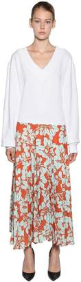 Pleated Skirt W/ Cotton Sweater Dress