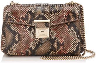 Jimmy Choo MARIANNE SHOULDER BAG/S Rosewood Mix Painted Desert Python Shoulder Bag
