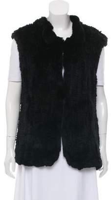 Milly Mock Neck Fur Vest